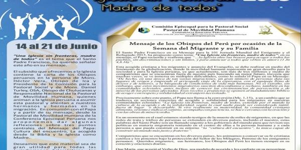 Del 14 al 21 de junio: semana nacional del migrante y su familia en Perú